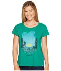 Life Is Good Meadow Breezy Tee Jungle Green Women's T Shirt Olive