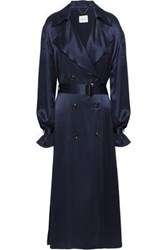 Magda Butrym Belted Silk Satin Trench Coat Navy