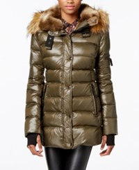 S13 Faux Fur Trim Shimmer Down Puffer Coat Military Green