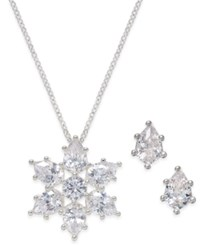 Charter Club Silver Tone Crystal Snowflake Necklace And Earrings Set Only At Macy's