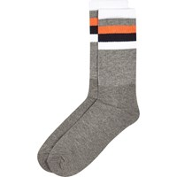 River Island Mens Grey Stripe Ankle Socks