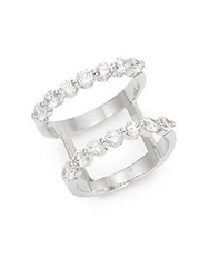 Saks Fifth Avenue White Stone Two Band Ring Silvertone