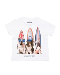 Mayoral Surfer Dog Cotton T Shirt White