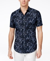 Inc International Concepts Men's Flotsam Floral Print Short Sleeve Shirt Only At Macy's Navy
