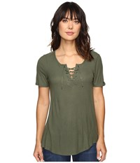 Calvin Klein Jeans Laced Up Short Sleeve Tee Veiled Fern Women's T Shirt Olive