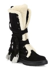 Moncler Janis Suede Shearling And Rabbit Fur Boots Black Charcoal