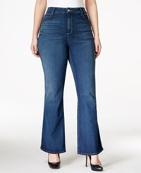 Nydj Plus Size Farrah High Rise Flare Jeans Medium Blue