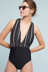 Anthropologie Zinnia Plunge One Piece Black Motif