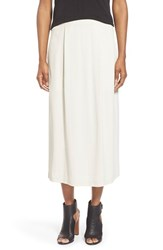 Women's Eileen Fisher Pleated Straight Silk Midi Skirt Bone