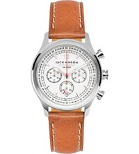 Jack Mason Jm N202 002 Nautical Stainless Steel And Leather Chronograph Watch