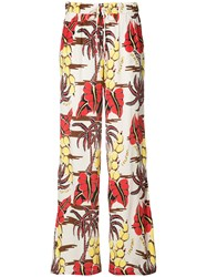 P.A.R.O.S.H. Printed Palazzo Pants Women Silk M Nude Neutrals