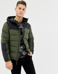 Hollister Hooded Puffer Jacket Icon Logo In Olive Green