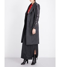 Junya Watanabe Tailored Wool And Faux Leather Coat Grey Black