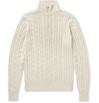 Loro Piana Suede Trimmed Cable Knit Baby Cashmere Half Zip Sweater Off White