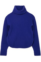 Antonio Berardi Cutout Ribbed Wool And Cashmere Blend Turtleneck Sweater Blue