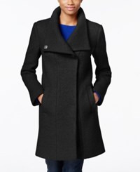 Kenneth Cole Wool Blend Asymmetrical Walker Coat Black