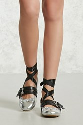 Forever 21 Lace Up Metallic Ballet Flats Silver