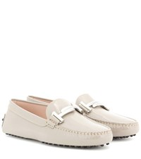 Tod's Gommini Maxi Patent Leather Loafers Grey