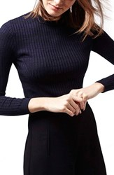 Petite Women's Topshop Ribbed Long Sleeve Top Navy Blue