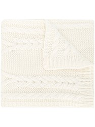Moncler Cable Knit Scarf White