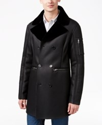Guess Men's Axl Bonded Coat With Faux Fur Trimmed Collar Jet Black