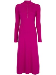 Sykes Half Zip Knitted Dress Purple