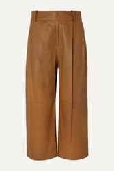 Vince Cropped Leather Wide Leg Pants Camel