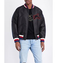 Gucci Panther Applique Silk Blend Bomber Jacket Black Multi