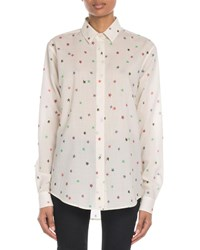 Saint Laurent Star Print Etamine Button Front Blouse Off White
