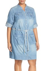 Plus Size Women's Michael Michael Kors Roll Sleeve Denim Drawstring Dress
