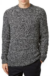 Men's Topman Twisted Zigzag Texture Crewneck Sweater Navy Blue Multi