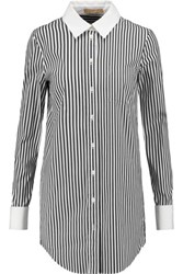 Michael Kors Collection Striped Cotton Blend Poplin Shirt Black