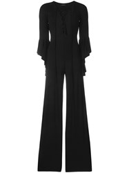 Fisico Lace Up Detail Jumpsuit Black