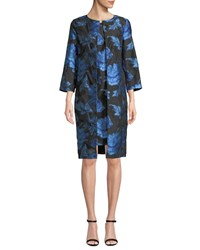 Albert Nipon Two Piece Floral Jacquard Dress And Topper Set Black Blue