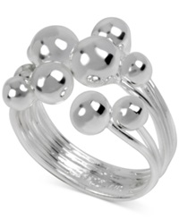 Macy's Touch Of Silver Ball Multi Row Ring In Silver Plated Brass