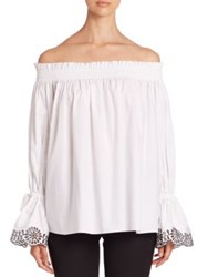 Alexander Mcqueen Cotton Eyelet Trim Off The Shoulder Blouse White