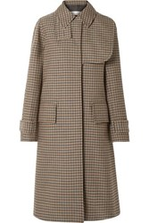 Victoria Beckham Oversized Checked Wool Coat Brown