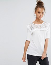 B.Young Frill Front Blouse Off White