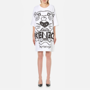 Kenzo Women's Crepe Back Satin Tiger T Shirt Dress White