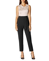Karen Millen Color Block Satin Jumpsuit Black Ivory