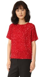 Ashish Zigzag Beaded Tee Red