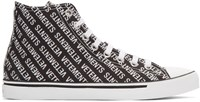 Vetements Black And White Printed Logo High Top Sneakers