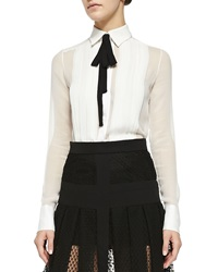 J. Mendel Long Sleeve Silk Blouse With Black Tie