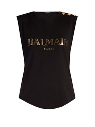 Balmain Logo Print Cotton Tank Top Black