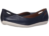 Clarks Helina Alessia Navy Leather Women's Flat Shoes Blue