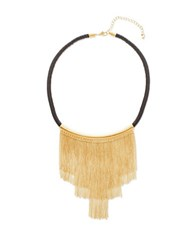Steve Madden Cable Chain Fringe Black Leather Necklace Gold