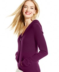 Charter Club Cashmere Zip Front Hoodie Only At Macy's Black Cherry