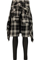 R 13 R13 Plaid Cotton And Leather Skinny Pants Black