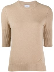 Barrie Cropped Sleeve Cashmere Top Brown