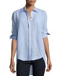 Halston Long Sleeve Button Front Top Sky Blue